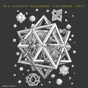 2021年【ラージカレンダー】「ESCHER/エッシャー」壁掛けタイプ 作家 画家 風景 アート ブラック 黒 スケジュール 月曜始まり 英語 オランダ語 輸入雑貨(KA21030)
