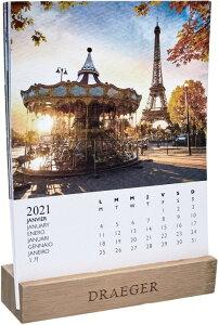 ドレジャー 2021年【デスクカレンダー】FRANCE(卓上タイプ)フランス/風景/景色フォト/写真/スケジュール/月曜始まり/竹製ベース/日本語/英語/フランス製/中国印刷/輸入雑貨(21DC-004)[FSC認証