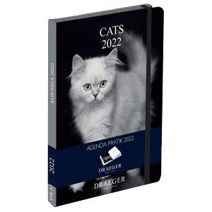 ドレジャー 2022年【ポケットアジェンダダイアリー】スケジュール帳 CATS/モノクロ 猫 動物 写真入り 祝日シール付き 輸入雑貨 [FSC認証]