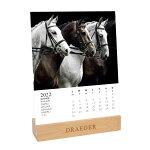 ドレジャー2022年【デスクカレンダー】HORSES(卓上タイプ)馬動物競馬スケジュール写真入り祝日シール付き輸入雑貨[FSC認証]