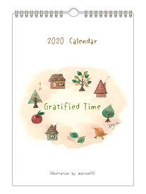 [ポイント20倍 1/31まで] 2020年カレンダー(壁掛けタイプ) marron125【ウォールカレンダー】「Gratified Time」(IOKWC-2020)イラスト/作家/水彩/かわいい/スケジュール/日曜始まり/文房具/日用品