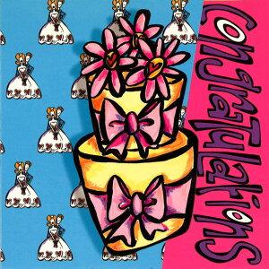グリーティングカード【結婚祝い/ウェディング】ハッピーハウス「ウェディングケーキ:Congratulations」【封筒付き/紫】【封筒サイズ/168×168mm】3つ折り イラスト メッセージカード 封筒付き
