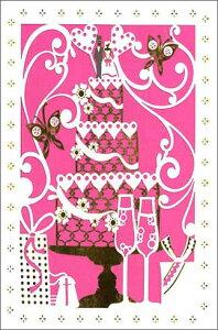 グリーティングカード【結婚/お祝い】「ウェディングケーキと蝶」【封筒/120×180mm】【カード/115×173mm】【中面/無地】【封筒の色/ピンク】【箔押し加工あり】【切り絵タイプ】