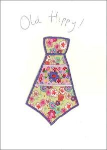 グリーティングカード【多目的】【父の日】「花柄のネクタイ」【封筒/125×174mm】【封筒の色/銀】【中面/無地】【布・刺繍・ビーズなどをあしらったハンドメイドポストカード】