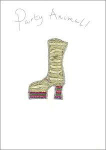 グリーティングカード【多目的】「金のブーツ」【封筒/125×174mm】【封筒の色/銀】【中面/無地】【布・刺繍・ビーズなどをあしらったハンドメイドポストカード】