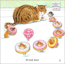 グリーティングカード【誕生日/バースデー】ピーター・クロスシリーズ「ドーナツを身に着けたねずみと猫」【封筒/163×163mm】【封筒の色/アイボリー】【中面/文字あり「Happy Birthday!」】(PCII0088)