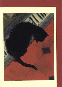 グリーティングカード【多目的】ドビッシー&ル・シャノワールシリーズ「鍵盤の上の猫」【封筒/115×162mm(定形サイズ)】【封筒の色/赤】【中面/無地】【封筒中/「TWO BAD MICE」の文字柄あ