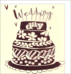 グリーティングカード 【結婚祝い・ウェディング】「ウェディングケーキ」【封筒サイズ/136×143mm】(定形外)【封筒の色/白】【カードサイズ/125×135mm】【中面/無地】【箔押し加工あり】【