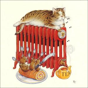 グリーティングカード【多目的】ピーター・クロスシリーズ「猫とねずみのティータイム」(PCII0012)[FSC認証]【キャット/マウス/お茶/ロールケーキ/おしゃれ/かわいい/お菓子/父の日/母の日/