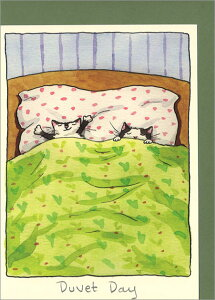 グリーティングカード【多目的】「ずる休み」【封筒付き/定形/緑】【FSC認証】(M307)ネコ/猫/動物/布団/手紙/メール/レター/イラスト/水彩画/絵本/デザイン/イギリス/画家/プレゼント/輸入