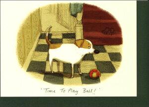 グリーティングカード【多目的】「ボール遊びの時間!」【封筒/115×162mm(定形サイズ)】【封筒の色/深緑】【中面/無地】【封筒中/「TWO BAD MICE」の文字柄あり】犬/動物/手紙/イラスト/水彩画