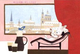 ポストカード 【寒中見舞い】山田和明「窓辺に想う」【「寒中お見舞い申し上げます」の文字あり】【3枚セット(同じ柄が3枚入っています)】【イラスト面筆記可】(KY502)【うさぎ/小鳥/雪景色/風景/動物/音楽/ほっこり/かわいい/おしゃれ/シンプル】