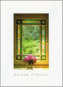 ポストカード 【カラー写真】おしゃれな窓辺とピンクの花