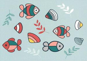 ポストカード 【イラスト】ミッフィーシリーズ/ディック・ブルーナ「海を泳ぐお魚と貝」絵本/キャラクター/グッズ/コレクション/動物/かわいい/贈り物ギフト(DB541)[FSC認証]