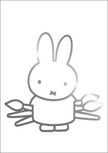 ポストカード 【イラスト】ミッフィーシリーズ/ディック・ブルーナ「筆を持ったミッフィー」絵本/キャラクター/グッズ/コレクション/うさこ/動物/かわいい/贈り物ギフト【シルバーフォイ