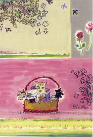 ポストカード 【アート】 長谷川英助「手かごと子猫たち」(AU-015)