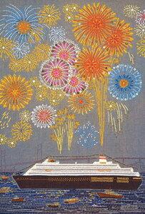 ポストカード 【イラスト】刺繍作家/加納博子「港の花火」(HK001)