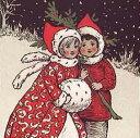 ミニカード 【クリスマス】 冬の散歩【封筒付き/赤】【封筒サイズ104×104mm】【中面/「With Best Wishes for Christmasand the New Year」の文字あり】(ASCX0164)