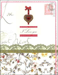 グリーティングカード 【バレンタイン】「花とリボン」【封筒サイズ/120×180mm】【封筒の色/金】【中面/無地】【ジェム付き】(VLL-002)
