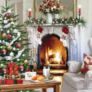 グリーティングカード 【クリスマス】サンタさんへ【封筒付き/白】【封筒サイズ/163×163mm】(XBAC0046)【メリークリスマス/ツリー/プレゼント/暖炉/炎/暖かい/シーズン/イギリス/雑貨】