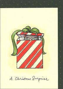 グリーティングカード【クリスマス】「クリスマスのサプライズ」【封筒付き/定形/緑/星柄】猫/動物/プレゼント/手紙/メール/レター/封筒/郵便/アート/イラスト/水彩画/デザイン/緑/イギリス