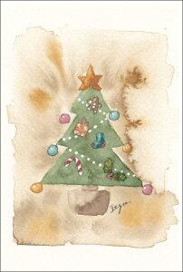 ポストカード 【クリスマス】 marron125「アンティーククリスマス」【100×148mm】(IOK-031)ツリー/オーナメント/おしゃれ/水彩画/絵はがき/雑貨