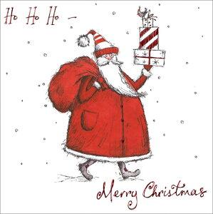 グリーティングカード 【クリスマス】「プレゼントを運ぶサンタクロース」【封筒サイズ/163×163mm】【カードサイズ/158×158mm】メッセージカード/定形外/おしゃれ/イギリス/輸入雑貨(LSXB0003-3)