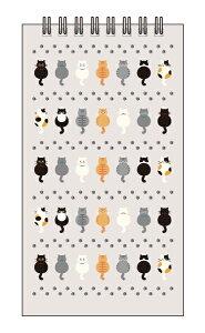 【リングクイックメモ】猫シリーズ「7匹の猫&あしあと」(イラスト/猫/ネコ/生活雑貨/おしゃれ/動物/かわいい/メモ帳/日用品/グッズ/ステーショナリー/文房具)【用紙の柄:罫線】(YOQM-001)