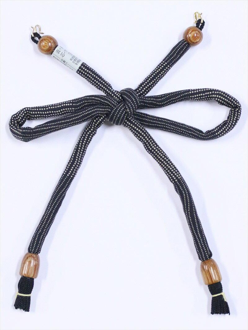 長羽織り紐 女性用 丸絎け hh-32 黒地・ドット柄
