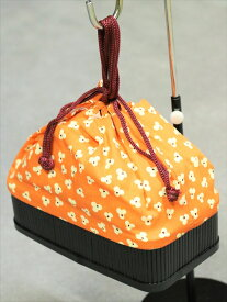 竹かご巾着バッグ  kt-31 オレンジ地 花柄