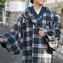 着物 コート 冬用 チェック柄 ロールカラー ウール ロング丈