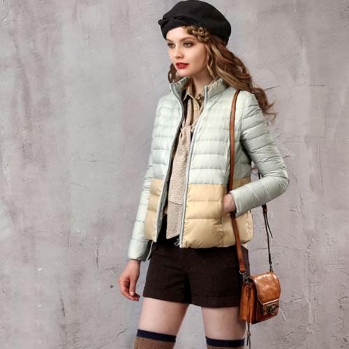 オリジナルデザイン 冬新作 大人可愛い 上質ダウン90%使用 ツートンカラー シンプル 薄手 ダウンジャケット ダウンコート 暖かい 大きいサイズあり ガーリー グリーン ピンク ブラウン 軽い