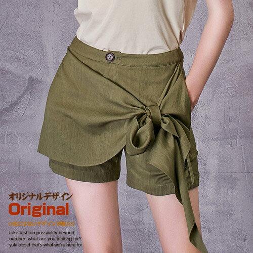 オリジナルデザイン 夏新作 大人可愛い ナチュラル カーキグリーン スカーフベルト付き風 フェイクレイヤード ショートパンツ