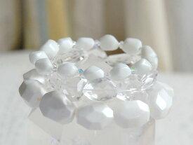 ホワイトストーンブレス3本セットシェル 水晶 ホワイトアゲイト スワロフスキークリスタルガラス