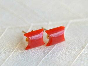 ピアス 血赤 珊瑚 サンゴ さんご 18金 K18 カット 天然石 ユキコ オオクラ ブランド おしゃれ ジュエリー アクセサリー 送料無料 女性 ギフト プレゼント にも