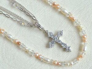 SV シルバー デザイン 3連 ネック 淡水 真珠 水晶 ネック キュービックジルコニア クロス ヘッド3点 セット
