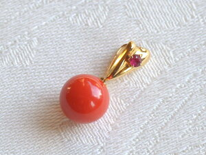 18金 K18 ルビー 血赤 珊瑚 サンゴ さんご 8.1mm ペンダント ヘッド