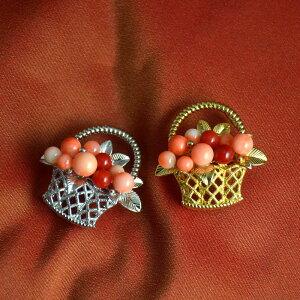 ブローチ ペンダント ピンク 血赤 珊瑚 サンゴ さんご SV シルバー 925 兼用 花 フラワー フラワーボックス 天然石 ユキコ オオクラ ブランド おしゃれ ジュエリー アクセサリー 送料無料 女性