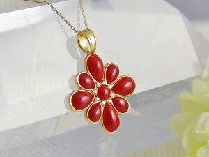 18金 K18 血赤 珊瑚 サンゴ さんご モザイク ペンダント ヘッド