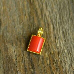 K18赤珊瑚角ダイヤ入りペンダントトップ