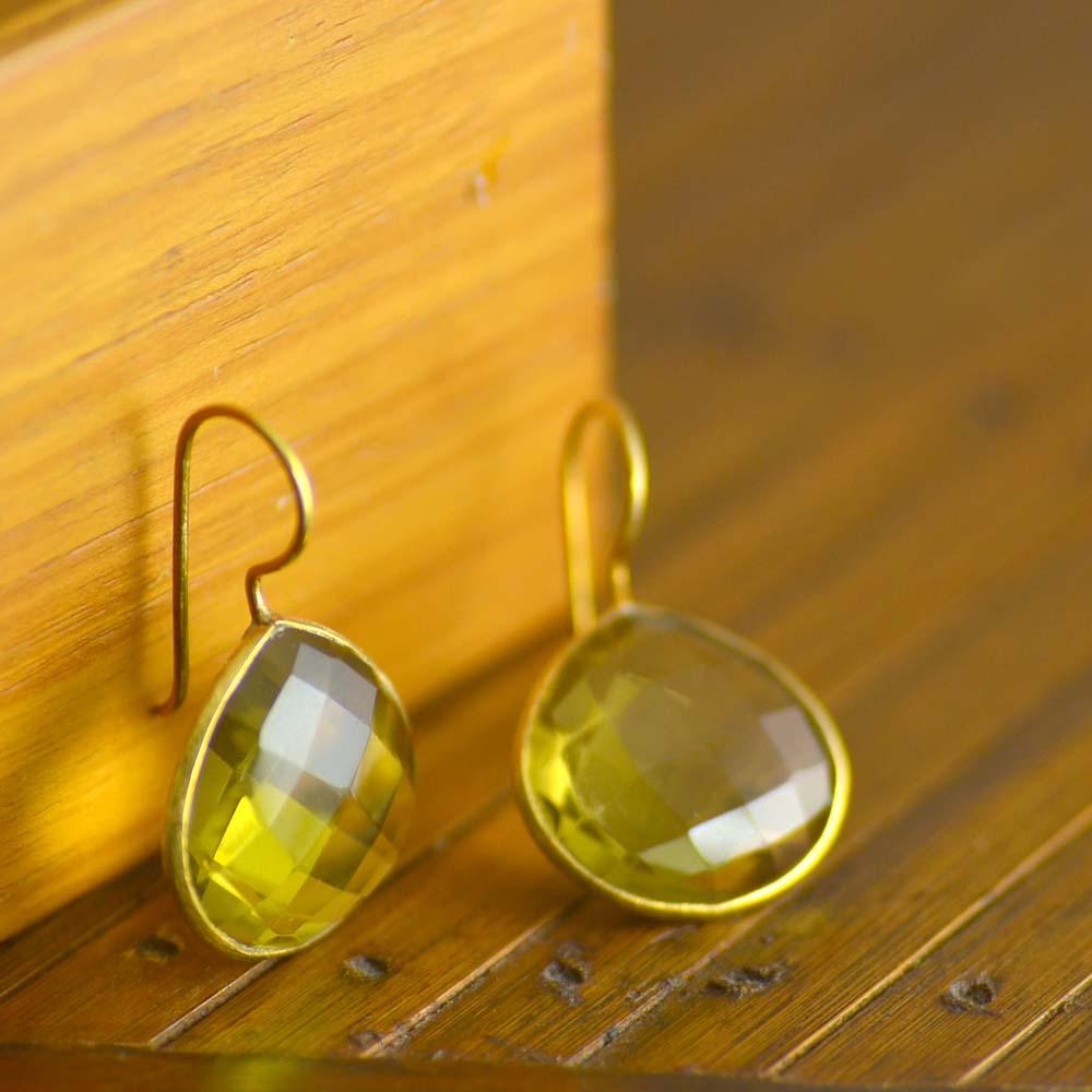 シルバー925(ゴールド荒らし仕上げ)レモンクォーツピアス