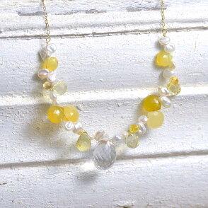 18金水晶・イエローオパール・淡水パールフリンジネックレス