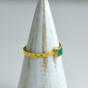 リング 指輪 エメラルド 18金 K18 スクエア シンプル 一点物 グリーン インド製 天然石 ユキコ オオクラ ブランド おしゃれ ジュエリー アクセサリー 送料無料 女性 5月 誕生石 ギフト プレゼ
