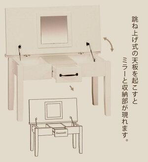 ドレッサーテーブルミニヨンMIGNON-DS<ローテーブルセンターテーブル収納化粧台ネイルメイクミラー鏡机可愛いおしゃれ>