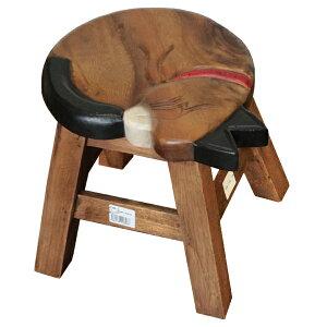手作り ウッドスツール ロータイプ 眠りネコ 2707-1919  <花台 鉢台 フラワースタンド ディスプレイ台 ガーデン ミニ スツール 腰掛 いす イス 椅子ねこ ネコ 猫 cat>