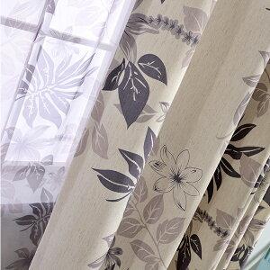 カーテン 4枚セッ リーフ柄 カーテン レースカーテン カーテン レース 植物 非遮光カーテン 2枚セット グリーン ナチュラル 葉っぱ かわいい カーテン 4枚セット おしゃれ 幅150 幅200 生地 カ