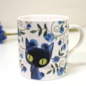 Ayumi(アユミ)BlueWorld(ブルーワールド)青猫ラピスマグカップLローズ(猫雑貨ねこ雑貨ネコ雑貨猫グッズねこグッズネコグッズキャット)