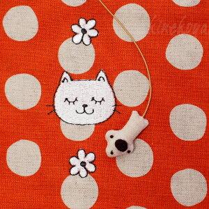 猫柄文庫本ブックカバーねむり猫白猫【ドン・ヒラノ手作り・日本製】(文庫本サイズ和風猫雑貨ネコグッズねこキャット)