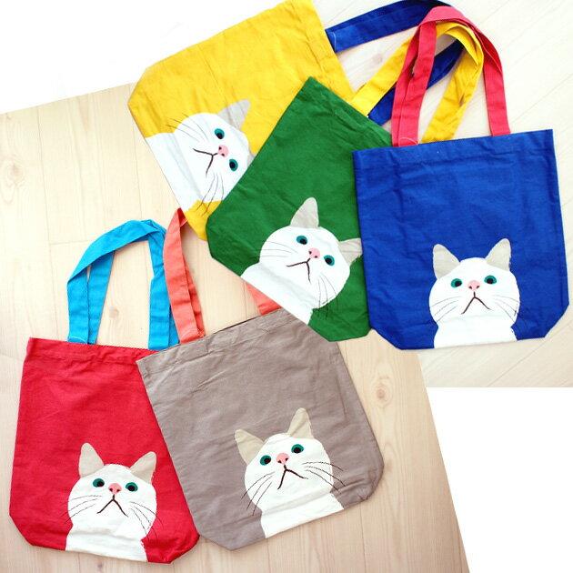 【猫のトートバッグ】白猫ターチャン A4トートバッグ(エコバッグ 猫雑貨 ネコグッズ ねこ キャット)