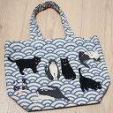 猫のトートバッグ 黒猫の黒助・ハチワレ猫の八郎 ミニトートバッグ【なみはちくろ・wasabi】(ランチバッグ フレンズヒル 猫雑貨 猫…